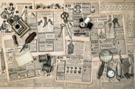 Фотообои коллаж старые газеты (retro-vintage-0000391)