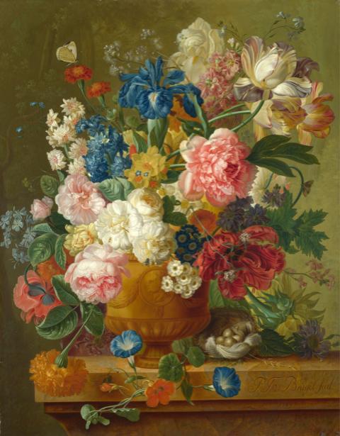 Фотообои в зал с цветами ваза (still-life-0067)