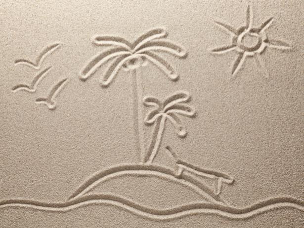 Фотообои для ванны пальмы на песке (underwater-world-00124)