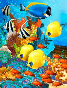 Фотошторы яркие рыбки (bathroom-curtain-00009)