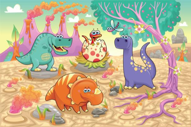 Динозаврики фотообои детские (children-0000265)
