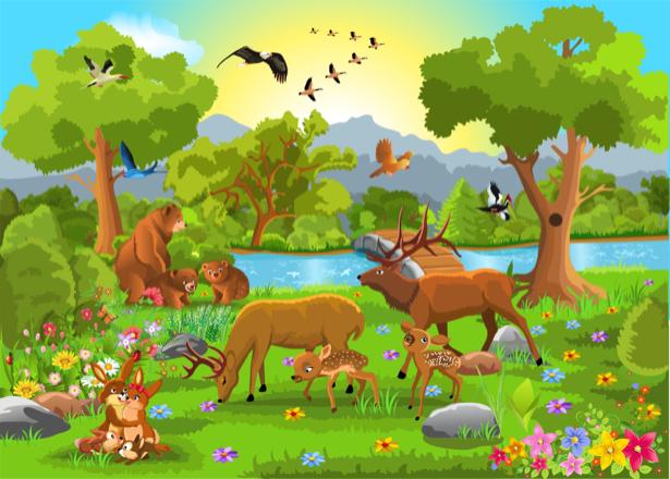Животные зоопарка детские фотообои (children-0000283)