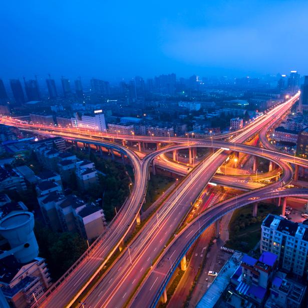 Фотообои Ночной мегаполис, мост (city-0000282)