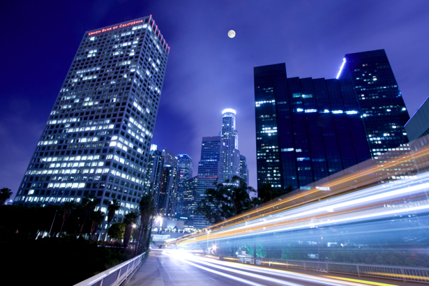 Фотообои Ночной мегаполис, мост, дорога (city-0000291)