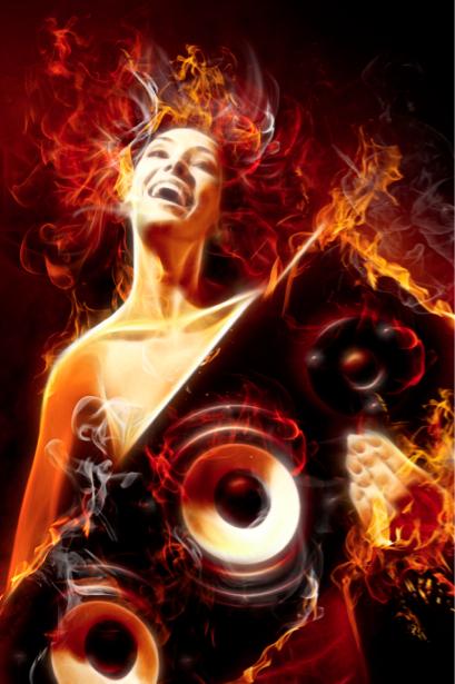 Фотообои музыкальная девушка в огне (glamour-0000179)