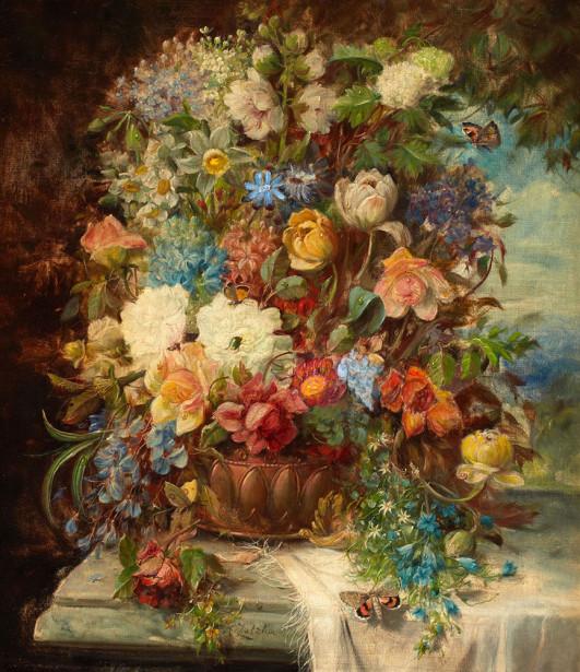 Картина летние цветы на подоконнике (pf-125)