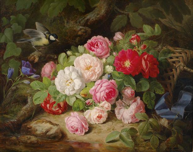 Картина Букет из роз на земле с синицей (pf-139)