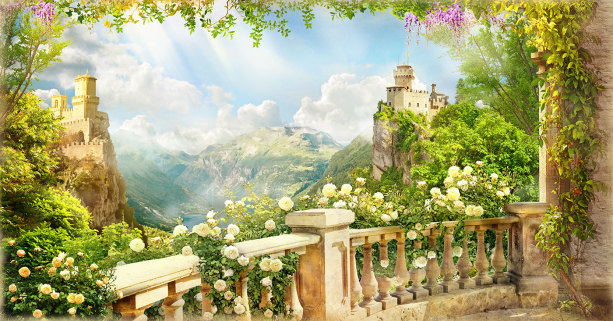 Фотообои цветущий балкон (printmaking-0000139)