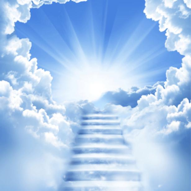 Фотообои лестница из облаков свет (sky-0000050)