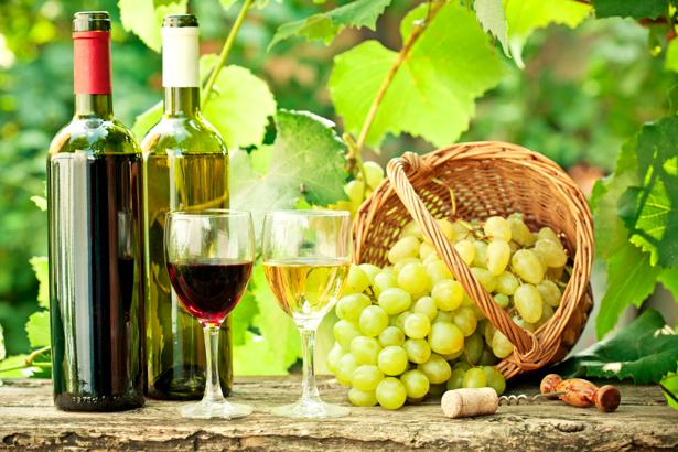 Фотообои фото винная бутылка виноград (still-life-0012)