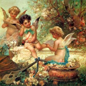 Фотообои-фреска ангелы в цветах (angel-00009)