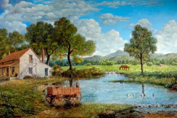 деревня, пруд, луг, домик (art-0000005)