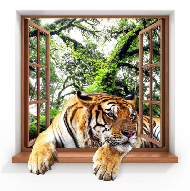 Фотообои Тигр в окне (child-481)