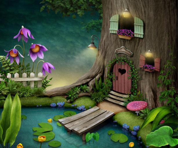 Детские фотообои дом в дереве (children-0000352)