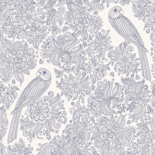 Обои раскраска Экзотические птицы (color-13)