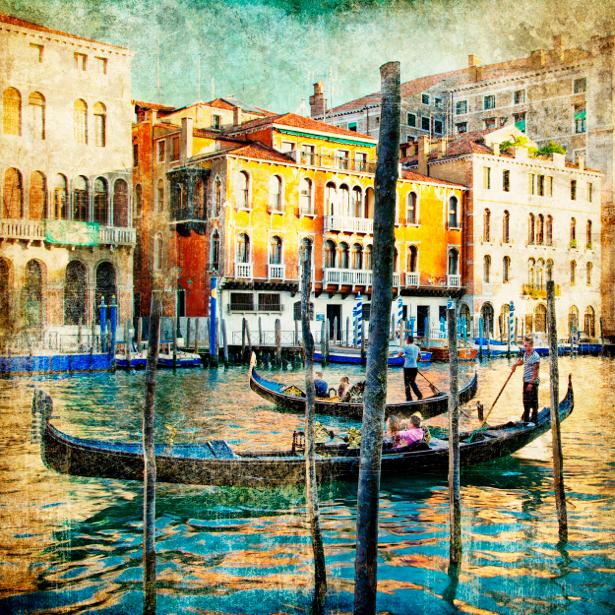 Фотообои канал в Венеции, Венеция, Италия (retro-vintage-0000092)