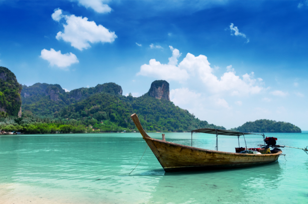 Фотообои лодка туристическая Тайланд (sea-0000380)