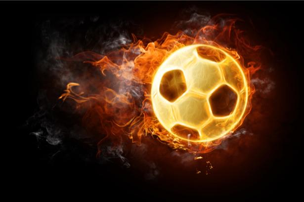 Фотообои мяч огонь (sport-0000025)