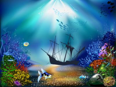 Фотообои в ванную подводный корабль (underwater-world-00187)