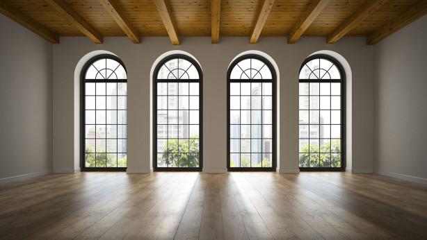 Фотообои арочные окна в интерьере (win-22)