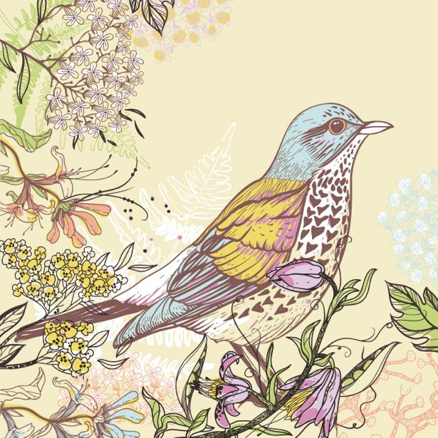 Фотообои Рисованная птица в цветах (animals-0000400)