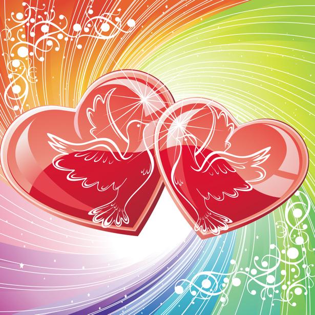 Фотообои Сердца любви голуби (background-0000369)