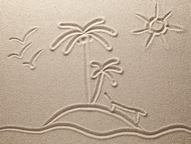 Фотошторы рисунок пальм на песке (bathroom-curtain-00001)