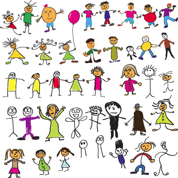 Нарисованная девочка.Мальчик.Нарисованные дети картинка в PNG.
