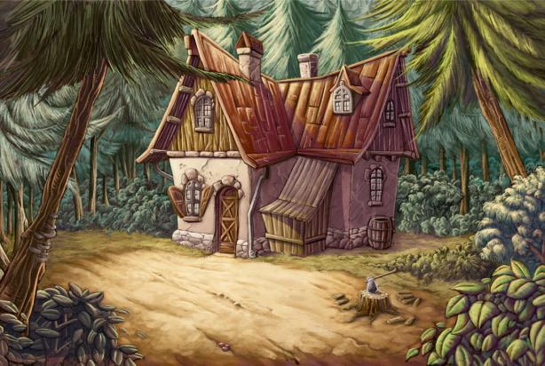 Детские фотообои домик в лесу (children-0000347)