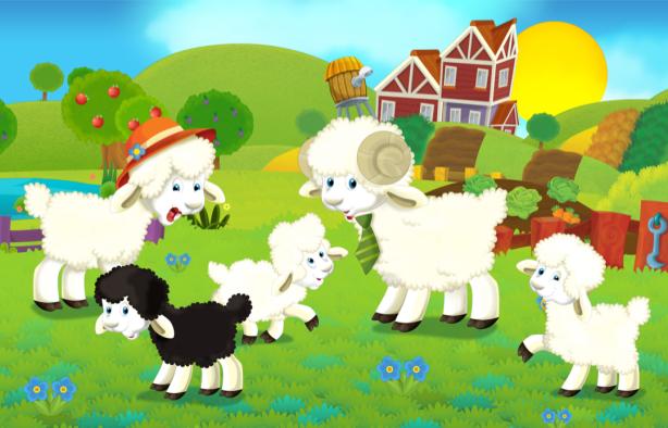 Детские фотообои овечки (children-0000371)