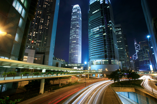 Фотообои Ночной мегаполис, мост, дорога (city-0000299)