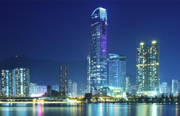 Фотообои река ночной мегаполис (city-0001143)