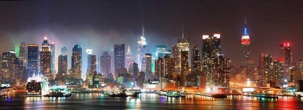 Панорамные фотообои ночной Манхеттен (city245)