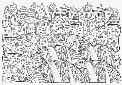 Обои раскраска Сказочный городок (color-19)