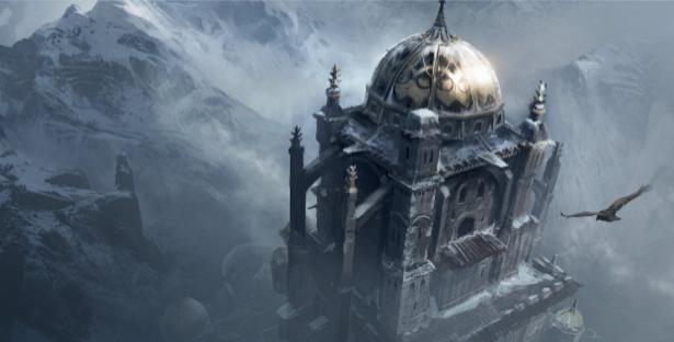 Фотообои сказочный замок в зимних горах (fantasy-0000018)