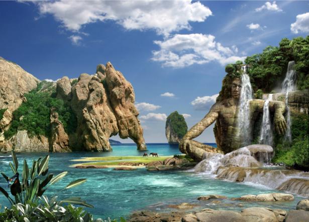 Фотообои в зал сказочный водопад (fantasy-0000105)