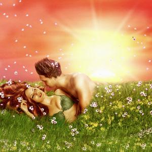 Фотообои красивая пара в поле (fantasy-0000115)