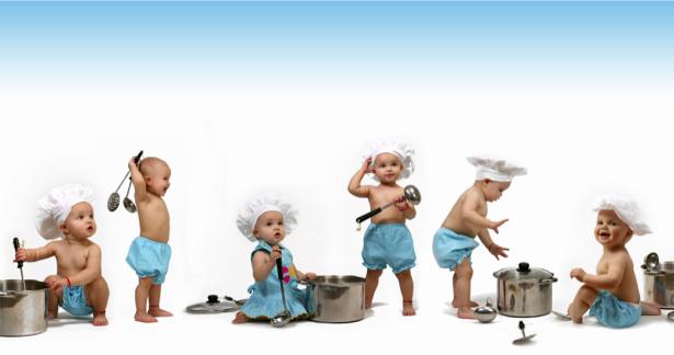 Фотообои для кухни малыши-поварята (food-0000212)