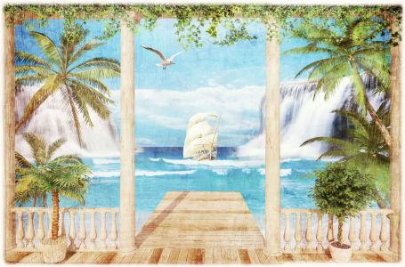 Фотообои пальмы на террасе (ha11)