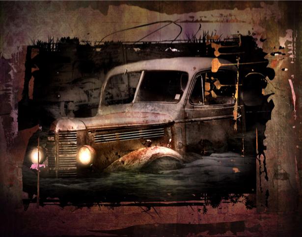 Фотообои ретро автомобиль в картине (transport-0000004)