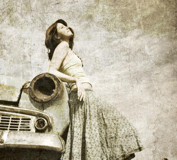 Фотообои ретро авто и женщина (transport-0000039)