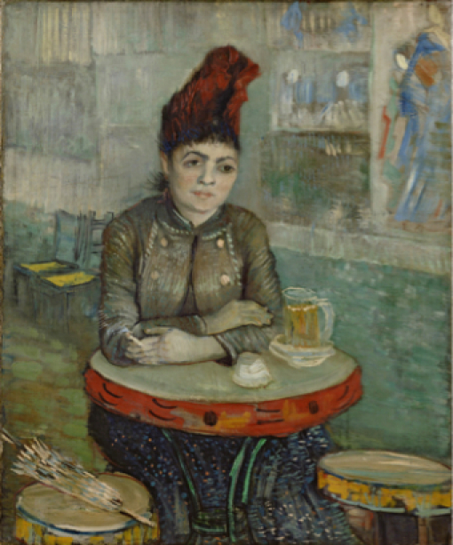 Ван Гог, портрет, Agostina Segatori сидя в кафе дю Tambourin (agostina-sagatori-sitting-in-the-cafe-du-tambourin-1887)