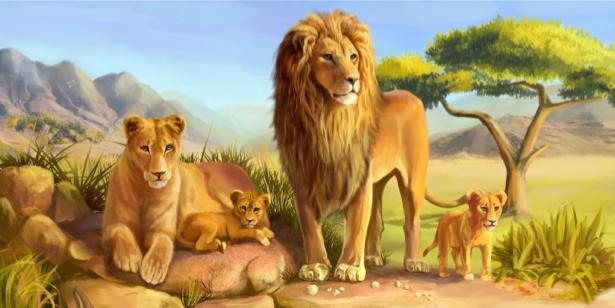 Фотообои львиная семья лев прайм (animals-0000197)