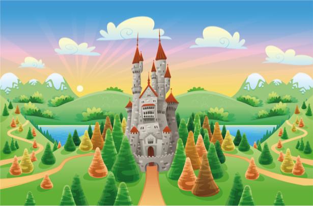 Сказочный фотообои детские замок (children-0000268)