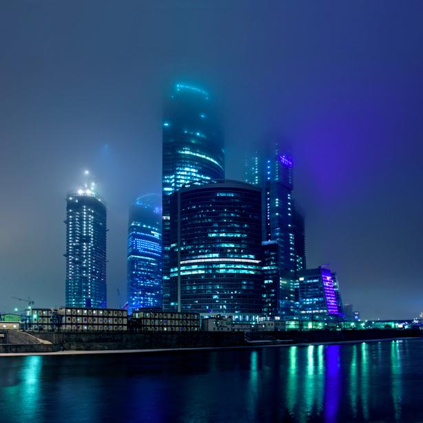 Фотообои Москва ночной город река (city-0000502)