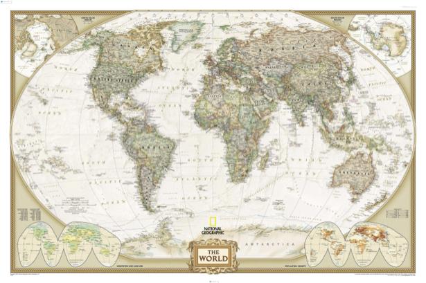 Фотообои карта мира, старая карта (map-0000194)