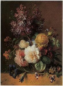 натюрморт с цветами печать на холсте (pf-88)