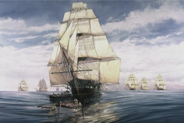 Фотообои парусные корабли в открытом море (transport-0000170)