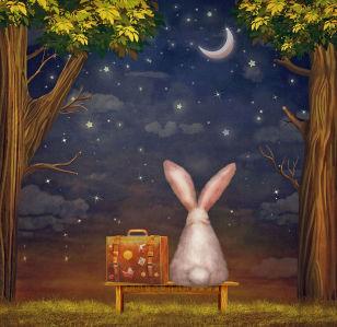 Фотообои кролик с чемоданом (child-450)