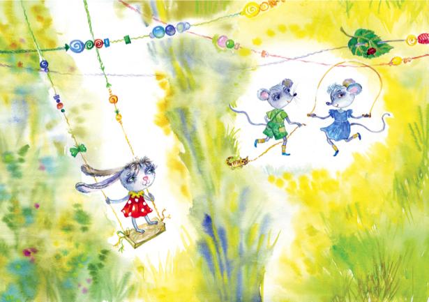 Детские фотообои кролик и мышки (children-0000095)